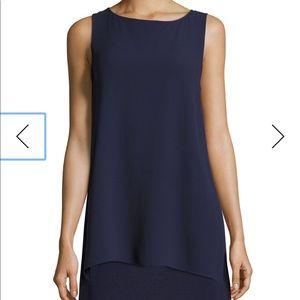 Eileen Fisher Navy silk sleeveless top large